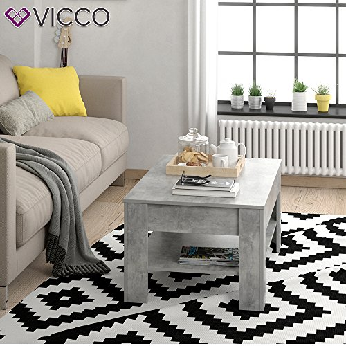 vicco couchtisch mit schublade beton optik 110 x 65 cm wohnzimmertisch beistelltisch kaffeetisch. Black Bedroom Furniture Sets. Home Design Ideas