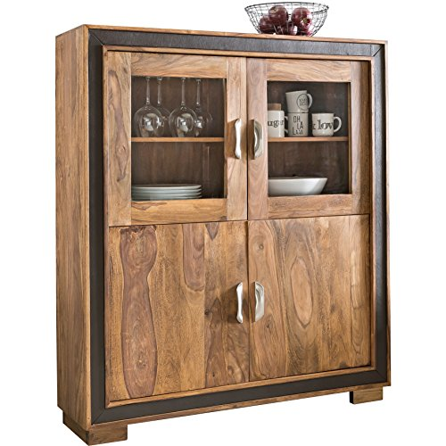 wohnling design sideboard karan sheesham massivholz mit kunstleder 120x35x140 cm vitrine mit. Black Bedroom Furniture Sets. Home Design Ideas