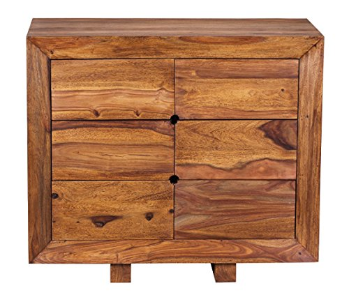 wohnling sideboard massivholz sheesham kommode 90 cm 6 schubladen anrichte design highboard. Black Bedroom Furniture Sets. Home Design Ideas