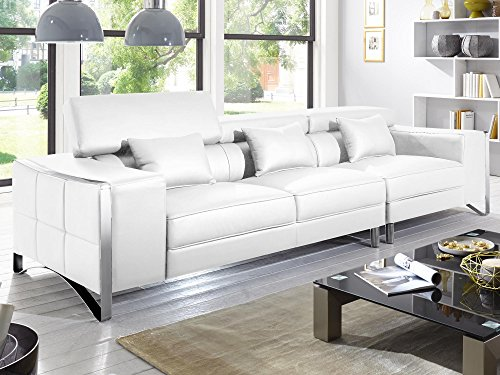 xxl big sofa gusti 4 sitzer echtleder mit kunstleder edelstahl wei skandinavische m bel. Black Bedroom Furniture Sets. Home Design Ideas