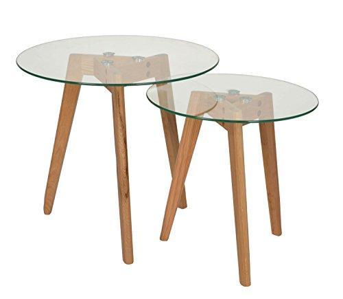 ts ideen 2er set design glas beistelltische rund holz eiche kaffeetisch couchtisch nachttisch. Black Bedroom Furniture Sets. Home Design Ideas