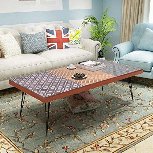vidaxl couchtisch beistelltisch kaffeetisch wohnzimmer retro design braun grau skandinavische. Black Bedroom Furniture Sets. Home Design Ideas