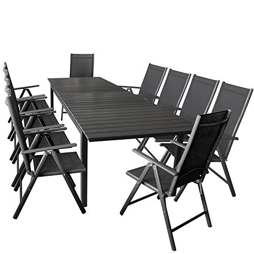 11er gartenm bel set ausziehbarer aluminium gartentisch mit polywood tischplatte 280 220x95cm. Black Bedroom Furniture Sets. Home Design Ideas