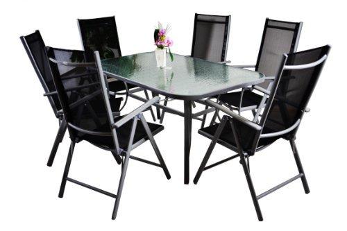 7 teiliges gartenm bel set gartengarnitur sitzgruppe sitzgarnitur aus gartenst hlen esstisch. Black Bedroom Furniture Sets. Home Design Ideas
