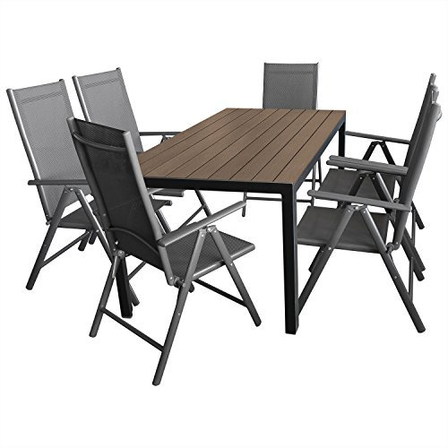 7tlg gartenm bel terrassenm bel set gartengarnitur sitzgruppe alu polywood gartentisch 150x90cm. Black Bedroom Furniture Sets. Home Design Ideas