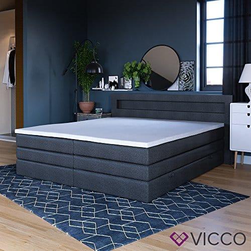 design boxspringbett led doppelbett bett hotelbett ehebett 180x200 cm schwarz skandinavische m bel. Black Bedroom Furniture Sets. Home Design Ideas
