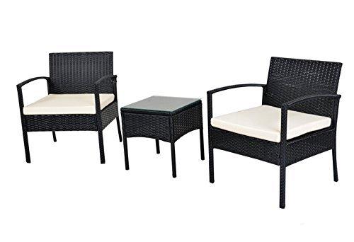 ebs polyrattan gartenm bel set gartengarnitur sitzgruppe lounge garnitur 1 tisch 2 st hle wei. Black Bedroom Furniture Sets. Home Design Ideas