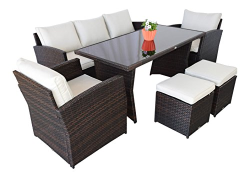 garten loungem bel havanna in dunkelbraun gartenm bel essgruppe polyrattan von jet line. Black Bedroom Furniture Sets. Home Design Ideas