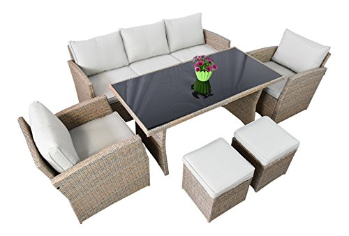 garten loungem bel havanna in natur gartenm bel essgruppe aus polyrattan von jet line. Black Bedroom Furniture Sets. Home Design Ideas