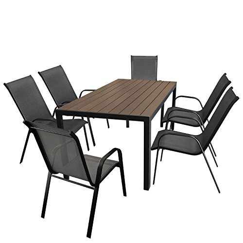 gartenm bel set aluminium gartentisch mit polywood tischplatte 150x90cm 6x stapelstuhl mit. Black Bedroom Furniture Sets. Home Design Ideas