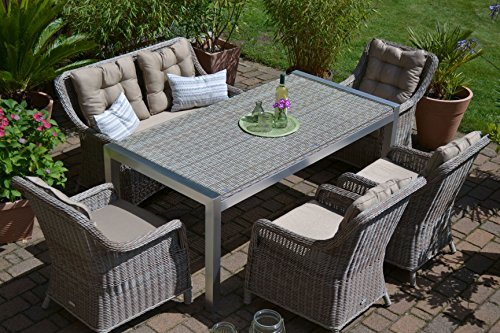gartenm bel set tisch bank und 4 sessel rattan polyrattan geflecht paris 7 sand grau. Black Bedroom Furniture Sets. Home Design Ideas