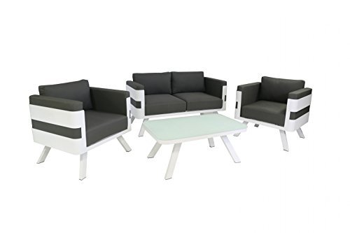 gartenm bel set aus aluminium loungem bel 4 teilig wei inkl kissen anthrazit lounge f r. Black Bedroom Furniture Sets. Home Design Ideas