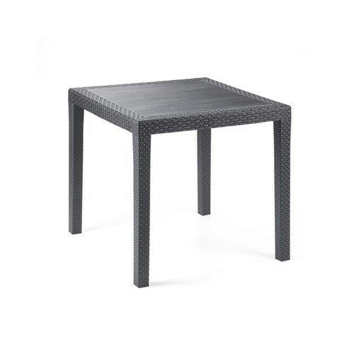 gartentisch rattan optik ohne schirmloch tisch schwarz 79 x 79 cm bistrotisch beistelltisch. Black Bedroom Furniture Sets. Home Design Ideas