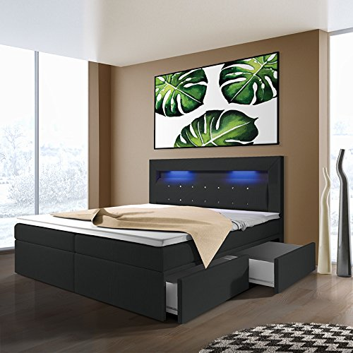 milos boxspringbett mit leds in der gr e und ausf hrung. Black Bedroom Furniture Sets. Home Design Ideas