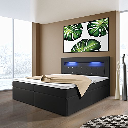 milos boxspringbett mit leds in der gr e und ausf hrung nach wahl 2 schubladen. Black Bedroom Furniture Sets. Home Design Ideas