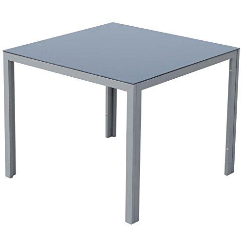 outsunny alu gartentisch balkontisch terrassentisch esstisch tisch mit glasplatte 87x87cm 0. Black Bedroom Furniture Sets. Home Design Ideas