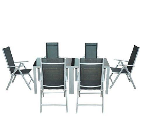 outsunny gartenm bel sets gartengarnitur sitzgruppe alu klappbar 8 er teilig schwarz. Black Bedroom Furniture Sets. Home Design Ideas