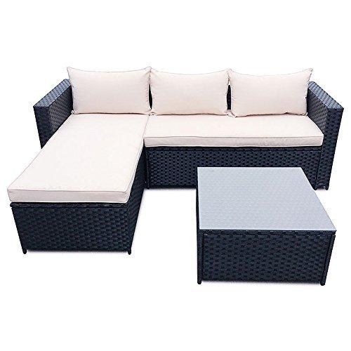 Poly rattan set gartenm bel rattan lounge gartenset sofa garnitur couch eck skandinavische m bel - Gartenset rattan ...