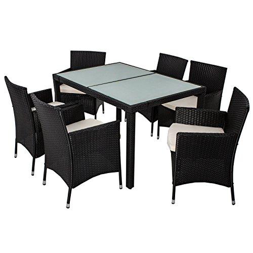 polyrattan essgruppe rimini l f r 6 personen mit glas. Black Bedroom Furniture Sets. Home Design Ideas