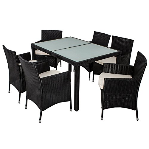 polyrattan essgruppe rimini l f r 6 personen mit glas tischplatten skandinavische m bel. Black Bedroom Furniture Sets. Home Design Ideas