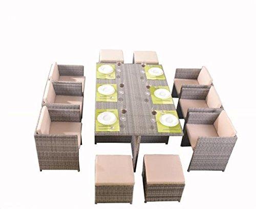 polyrattan essgruppe tischset w rfel cube f r 10 personen grau skandinavische m bel. Black Bedroom Furniture Sets. Home Design Ideas