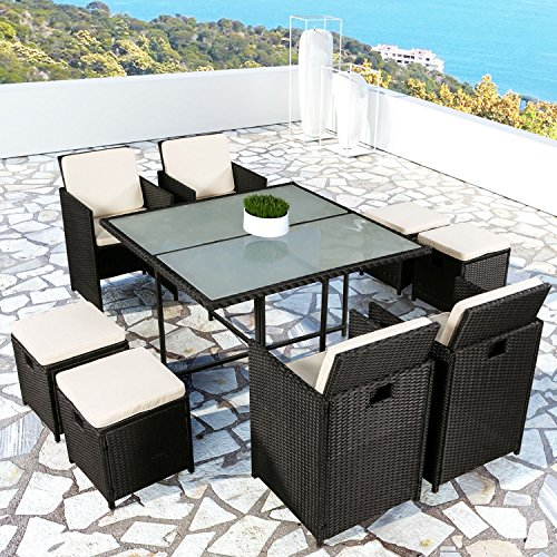 polyrattan poly rattan gartenm bel essgruppe 1 tisch 4 st hle 4 hocker 200145 j. Black Bedroom Furniture Sets. Home Design Ideas