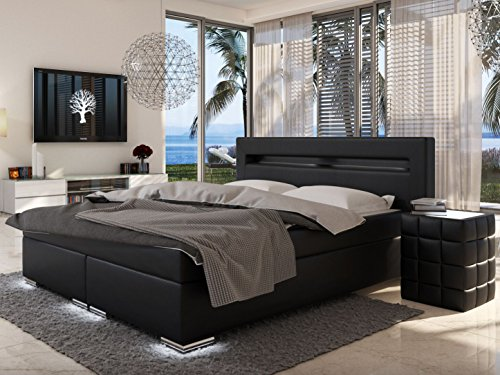 sam design boxspringbett mit samolux bezug in schwarz led beleuchtung an f en kopfteil. Black Bedroom Furniture Sets. Home Design Ideas