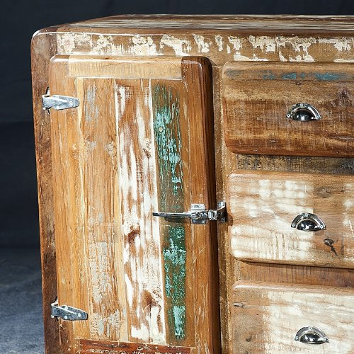 salesfever sideboard aus massivholz glace altholz im shabby chic gro 2 t ren skandinavische. Black Bedroom Furniture Sets. Home Design Ideas