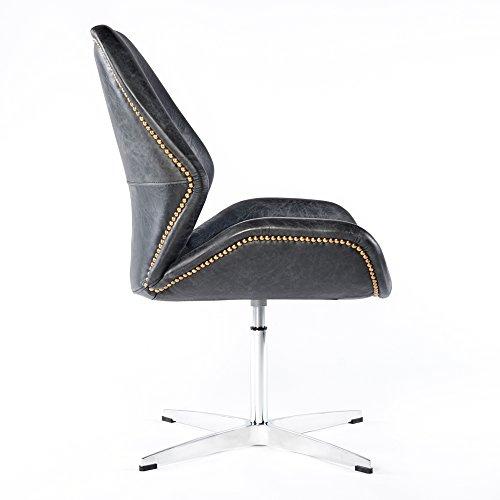 vintage drehsessel retro ledersessel schwarz design leder. Black Bedroom Furniture Sets. Home Design Ideas
