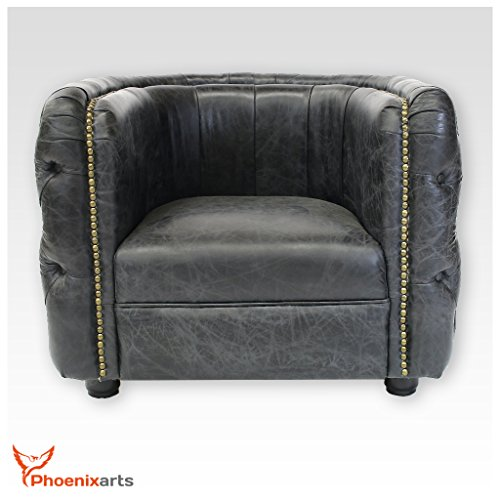 Vintage echtleder chesterfield ledersessel schwarz design for Ledersessel schwarz design