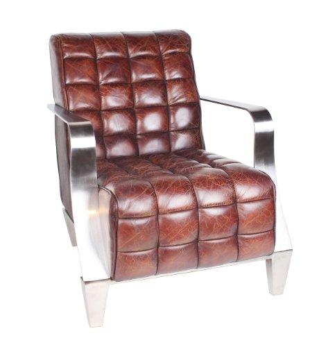 vintage echtleder sessel edelstahl ledersessel braun design sofa lounge m bel neu 448. Black Bedroom Furniture Sets. Home Design Ideas