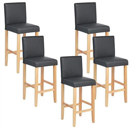 woltu bh67gr 5 barhocker bistrostuhl bistrohocker mit lehne 5er set helle beine aus. Black Bedroom Furniture Sets. Home Design Ideas