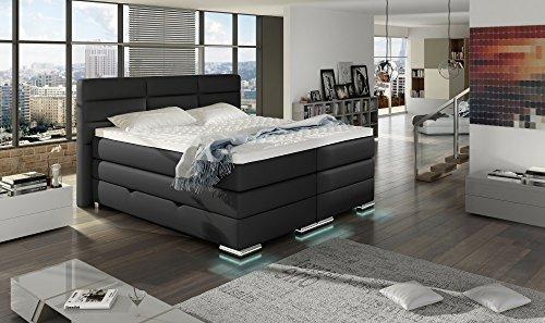 xxl roma boxspringbett mit bettkasten designer boxspring bett led nachtschwarz rechteck design. Black Bedroom Furniture Sets. Home Design Ideas