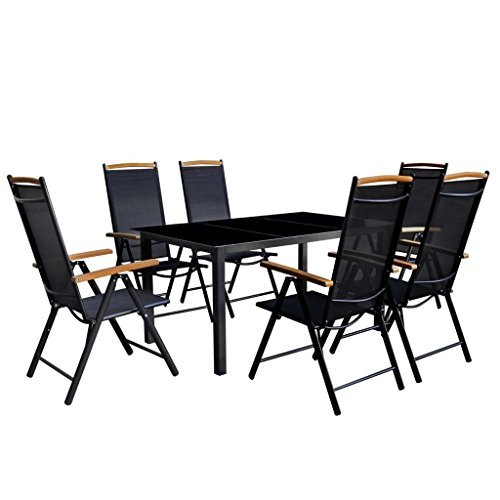 vidaxl 7 tlg gartenm bel set alu gartengarnitur essgruppe sitzgruppe klappstuhl. Black Bedroom Furniture Sets. Home Design Ideas