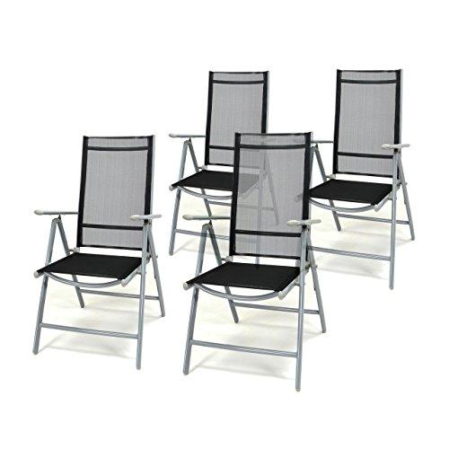 4er set klappstuhl schwarz aluminium 7 fach verstellbar. Black Bedroom Furniture Sets. Home Design Ideas