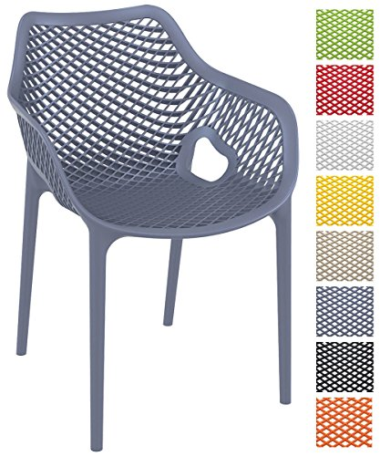 CLP Stapel-Stuhl AIR XL, Bistrostuhl stapelbar, max. Belastbarkeit: 130 kg, Gartenstuhl Kunststoff, Sitzhöhe 44 cm, tolle Wabenoptik