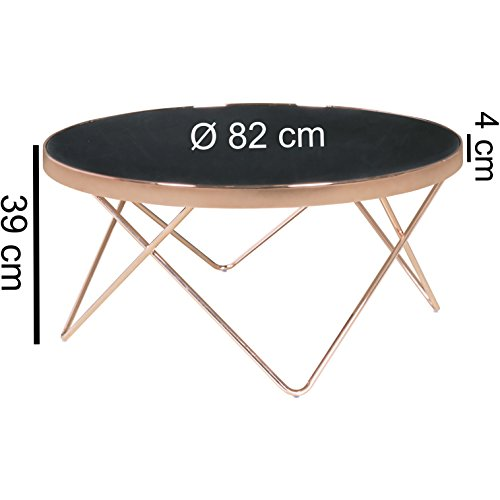 design couchtisch round 82cm rund glas kupfer bronze lounge tisch verspiegelt moderner. Black Bedroom Furniture Sets. Home Design Ideas