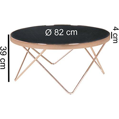 Design couchtisch round 82cm rund glas kupfer bronze - Couchtisch verspiegelt ...