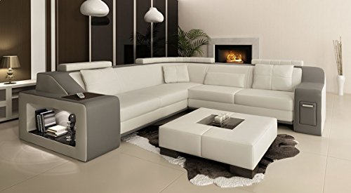 ecksofa xxl polsterecke leder wei grau berlin ii skandinavische m bel. Black Bedroom Furniture Sets. Home Design Ideas