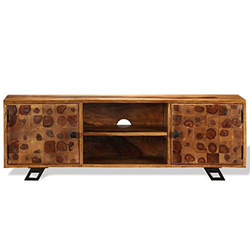 festnight tv lowboard tv bank fernsehschrank fernsehtisch sheesham massiv 120x30x40 cm. Black Bedroom Furniture Sets. Home Design Ideas