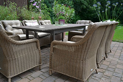 gartenm bel set como xl 8 natur braun tisch ausziehbar 205 260 holzdekor mit 8 sessel rattan. Black Bedroom Furniture Sets. Home Design Ideas