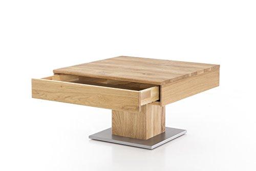 Massivholz couchtisch quadratisch aus wildeiche ge lter for Beistelltisch 75 cm