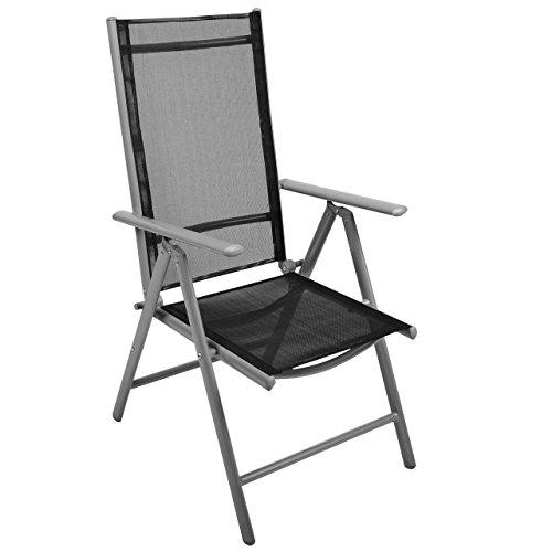 Nexos Stuhl, Klappstuhl, Gartenstuhl, Hochlehner für Terrasse, Balkon Camping Festival, aus Aluminium verstellbar, leicht, stabil