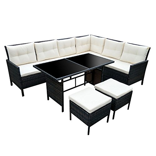 poly rattan set gartenm bel rattan lounge gartenset sofa garnitur couch eck xxl braun. Black Bedroom Furniture Sets. Home Design Ideas