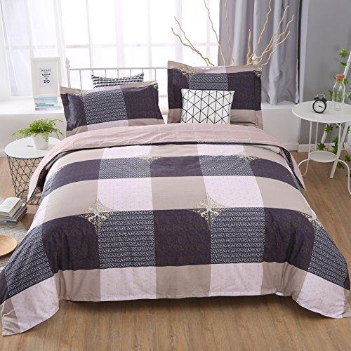 Unimall Bettwäsche Baumwolle Karo Musterung 100% Baumwolle