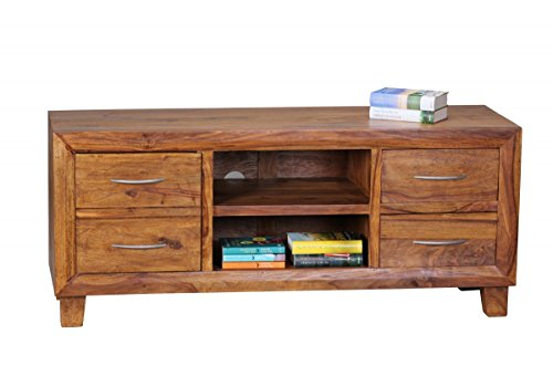wohnling lowboard massivholz sheesham kommode 135 cm tv board ablage fach landhaus stil 4. Black Bedroom Furniture Sets. Home Design Ideas