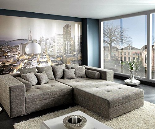xxl sofa marlen hellgrau 300x140 cm polsterecke mit hocker bigsofa skandinavische m bel. Black Bedroom Furniture Sets. Home Design Ideas