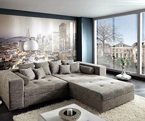 xxl sofa marlen hellgrau 300x140 cm polsterecke mit hocker bigsofa skandinavische m bel. Black Bedroom Furniture Sets. Home Design Ideas