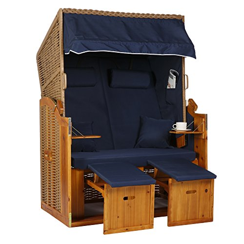 2 Sitzer Natur Ostseestrandkorb Hörnum Blau Uni Strandkorb Volllieger