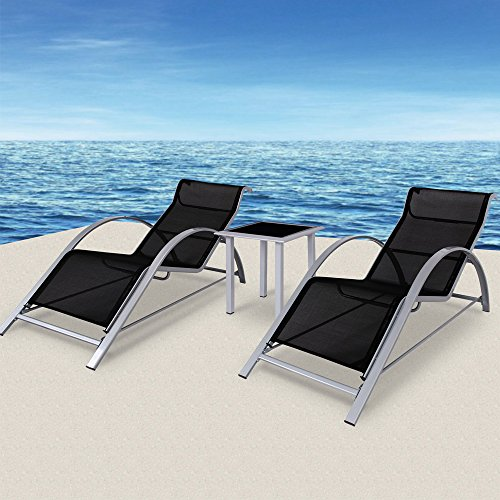 2x Sonnenliege Gartenliege Liegestuhl Strandliege Liege ✓ Set aus 2 Liegen und 1 Glastisch ✓ Aluminium